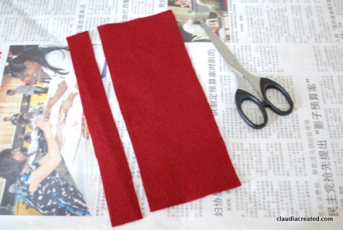 cutting a long rectangle of felt